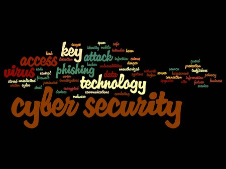 Concept or conceptual cyber security access technology word cloud isolated on background Stock Photo