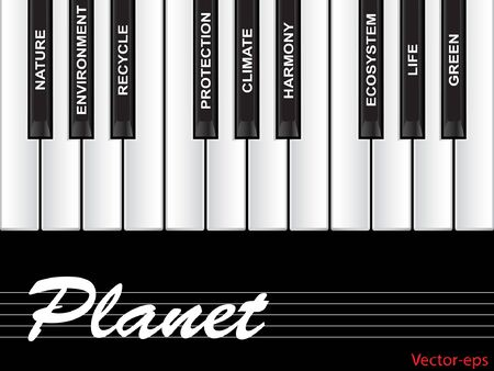 Vector eps concept or conceptual white text piano keys word cloud or tagcloud isolated on black background as metaphor to natur, ecology, green, energy, natural, life, world, global, protect recycling