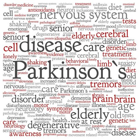 rigidity: Vector conceptual Parkinson`s disease healthcare or nervous system disorder word cloud isolated Illustration