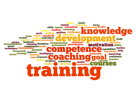 Vector concept or conceptual training, coaching or learning, study word cloud isolated on background Illustration