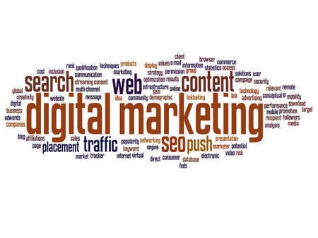 keywords: Vector concept or conceptual digital marketing seo or traffic abstract word cloud isolated on background Illustration