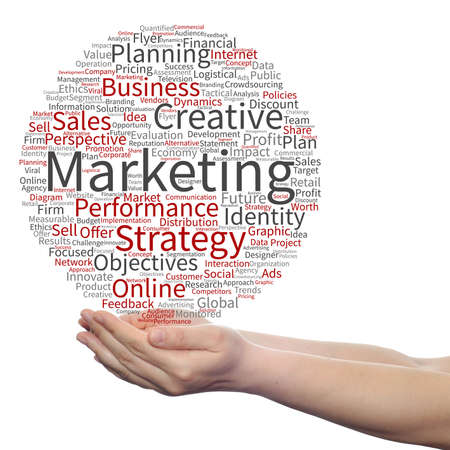 Concept or conceptual business marketing target word cloud in hand isolated