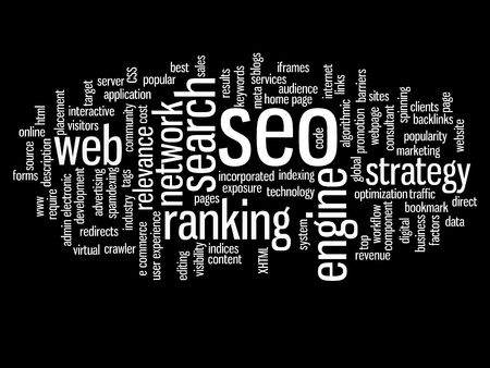 Concept or conceptual search engine optimization, seo abstract word cloud isolated
