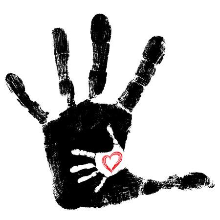 Conceptuel mignon peinture main de la mère et de l'enfant en forme de coeur isolé sur fond blanc Banque d'images - 83482541