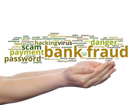 bank robber: Concept or conceptual bank fraud payment scam danger word cloud in hand isolated on background