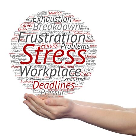 workplace stress: Concept conceptual mental stress at workplace or job word cloud in hand isolated