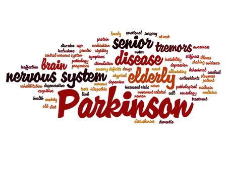 Maladie de Parkinson conceptuelle maladie ou trouble du système nerveux nuage de mot isolé