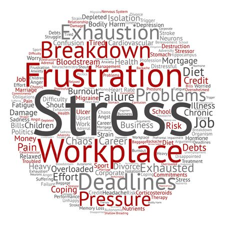 Conceptual mental stress at workplace or job word cloud isolated on background Фото со стока - 83558821