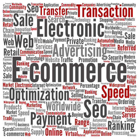electronic commerce: Concept or conceptual E-commerce electronic sales word cloud isolated on background Stock Photo