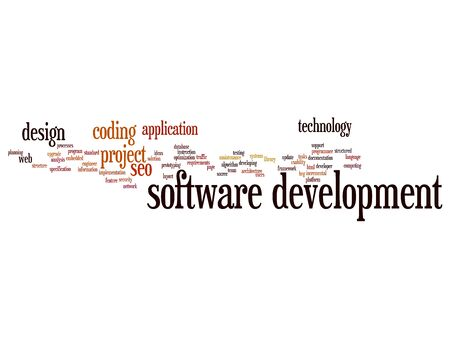 html: Cconcept or conceptual software development project coding technology word cloud isolated on background