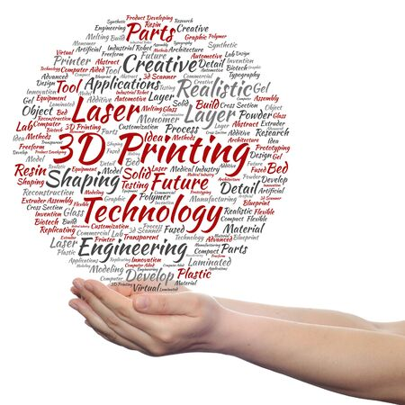 additive manufacturing: Concept or conceptual 3D printing creative laser technology word cloud in hands isolated on background Stock Photo