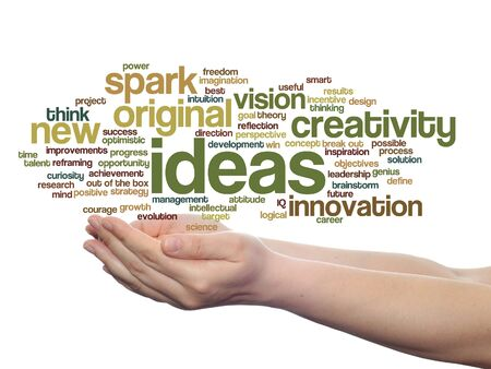 reviews: Concept conceptual creative new ideas brainstorming word cloud in hands isolated Stock Photo