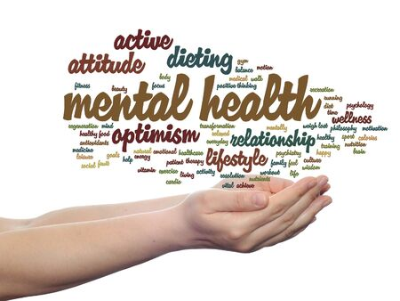 regeneration: Concept or conceptual mental health or positive thinking word cloud held in hands isolated Stock Photo