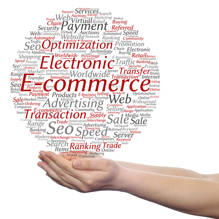 electronic commerce: Concept or conceptual E-commerce electronic sale word cloud in hands isolated on background
