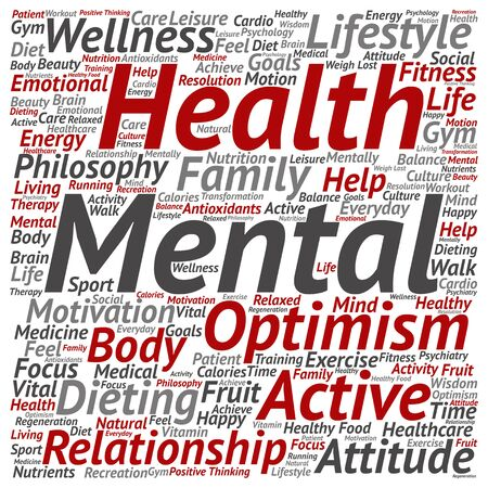 Conceptuele geestelijke gezondheid of positief denken abstracte woord wolk geïsoleerd Stockfoto