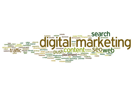 keywords: Concept conceptual digital marketing seo or traffic abstract word cloud isolated on background metaphor to business, market, content, search, web, push, placement, communication or technology
