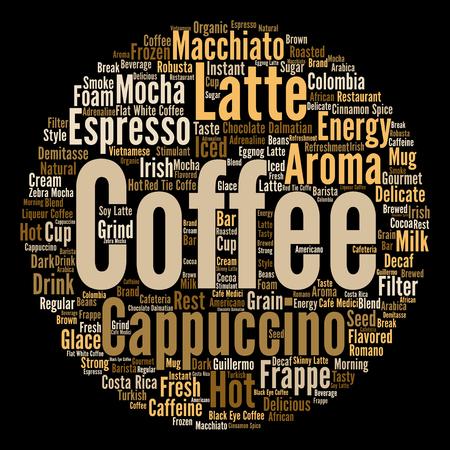 コンセプト概念創造的なホット コーヒー、カプチーノ、エスプレッソ抽象的な単語の雲分離 写真素材