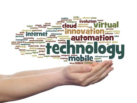 wireless communication: Concept or conceptual digital smart technology, media word cloud in hand isolated