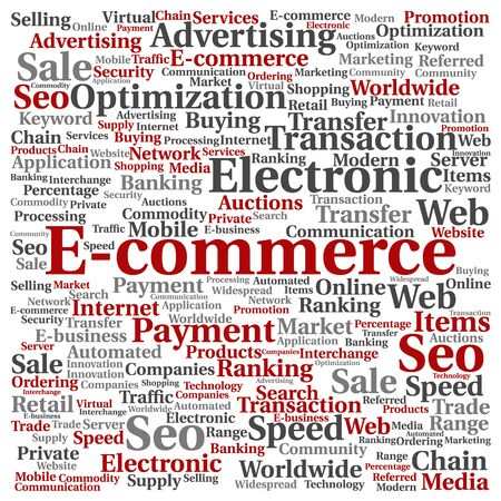 b2b: Concept or conceptual E-commerce electronic sales word cloud isolated on background Stock Photo