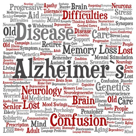 Vector concept conceptual Alzheimer`s disease symtoms abstract square word cloud isolated on background metaphor to care, loss, caregiving, aging, resistance, neurology, old, language motor resistance