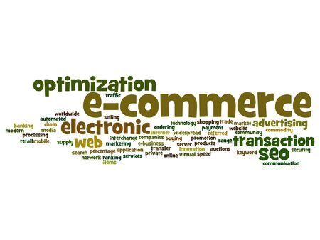 electronic commerce: Vector concept or conceptual E-commerce electronic sale word cloud isolated on background Illustration