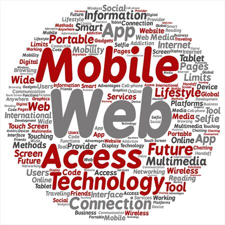 touch screen phone: Vector concept or conceptual mobile web portable multimedia technology round word cloud isolated on background metaphor to access, future app, lifestyle communication, social tool, online services Illustration