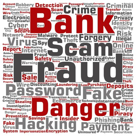 fraudulent: Vector concept or conceptual bank fraud payment scam danger word cloud isolated on background Illustration
