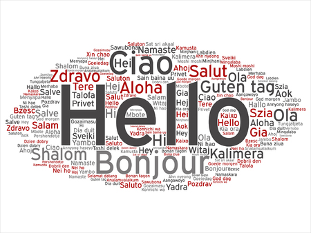 meet and greet: Vector conceptual abstract hello or greeting international word cloud in different languages