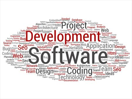 Vector concept or conceptual software development project coding technology word cloud isolated on background Illustration