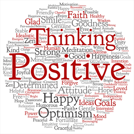 goodness: Vector concept or conceptual positive thinking, happy or strong attitude round word cloud isolated on background metaphor to optimism, smile, faith, goals, courageous, goodness, happiness inspiration
