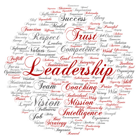 Vector concept or conceptual business leadership, management value word cloud isolated on background Stock Illustratie