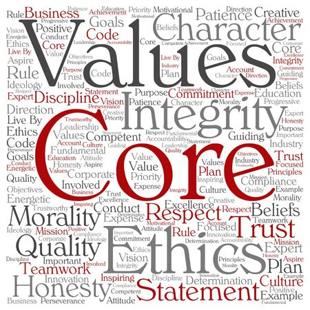 business ethics: Vector conceptual core values integrity ethics square concept word cloud isolated on background