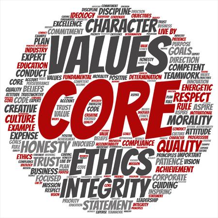 Vector conceptuales valores fundamentales integridad ética concepto palabra nube aislada en segundo plano Ilustración de vector