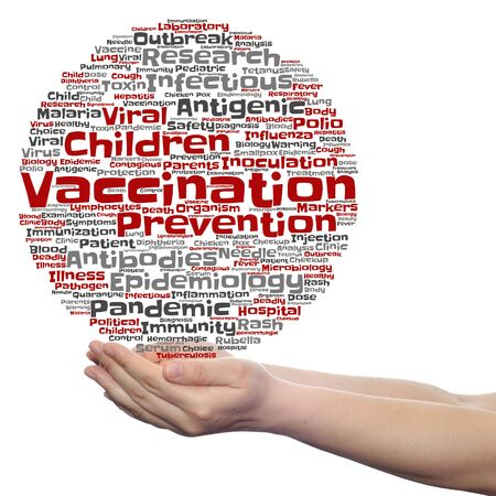 Concept or conceptual children vaccination or viral prevention word cloud in hand isolated on background Stock Photo
