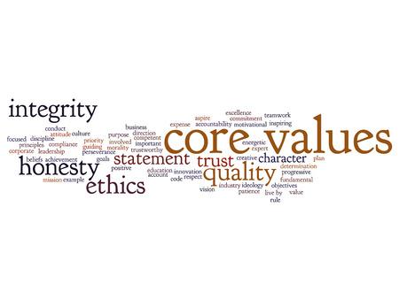 개념적 핵심 가치 무결성 윤리 개념 단어 구름 배경에 고립