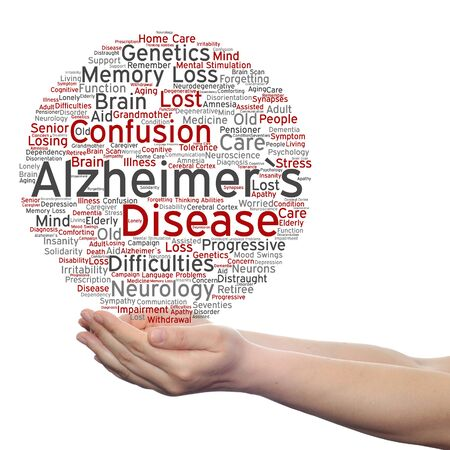 delusional: Concept or conceptual Alzheimer`s disease symptom abstract word cloud held in hands Stock Photo
