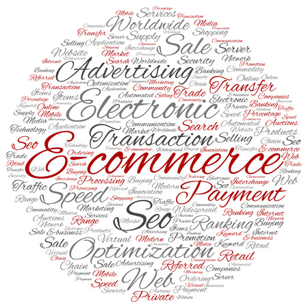 Concept or conceptual E-commerce electronic sale word cloud isolated on background