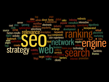 definicion: Concept or conceptual search engine optimization, seo abstract word cloud isolated