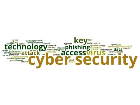 Cyber security access technology word cloud isolated