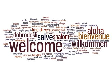 Conceptual welcome or greeting international word cloud in different languages or isolated Çizim