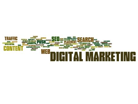 Concept or conceptual digital marketing seo or traffic abstract word cloud isolated Illustration
