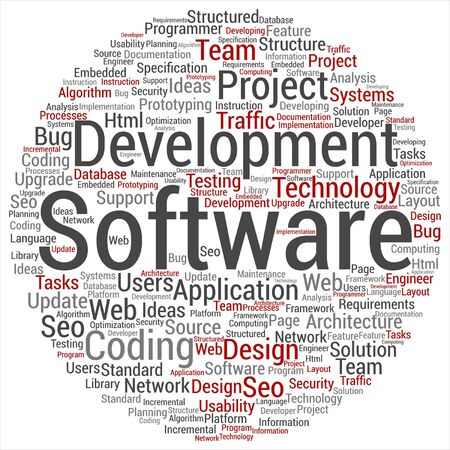 html: A conceptual software development project coding technology word cloud isolated