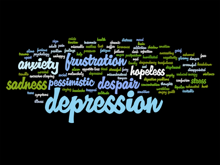 Conceptual depresion or mental emotional disorder word cloud isolated