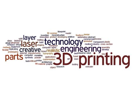 Concept or conceptual 3D printing creative laser technology word cloud isolated Vectores