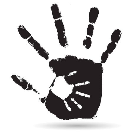 Concept Or Conceptual Cute Black Paint Hand Of Mother Child Handprint Isolated On White Stock Vector