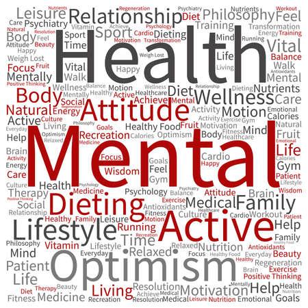 Conceptuele geestelijke gezondheid of positief denken abstracte woord wolk geïsoleerd