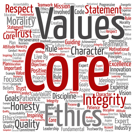 business ethics: Conceptual core values integrity ethics concept word cloud isolated
