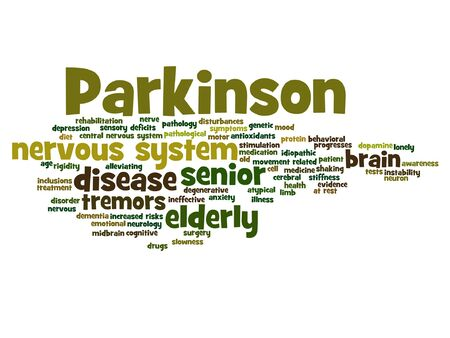 rigidity: Conceptual Parkinson`s disease healthcare or nervous system disorder word cloud isolated