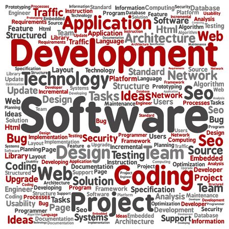 html: Concept or conceptual software development project coding technology word cloud isolated Illustration