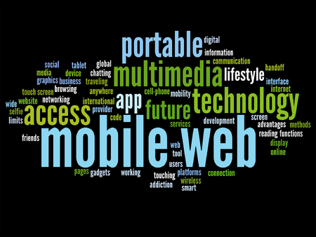 touch screen phone: Concept or conceptual mobile web portable multimedia technology word cloud isolated Illustration